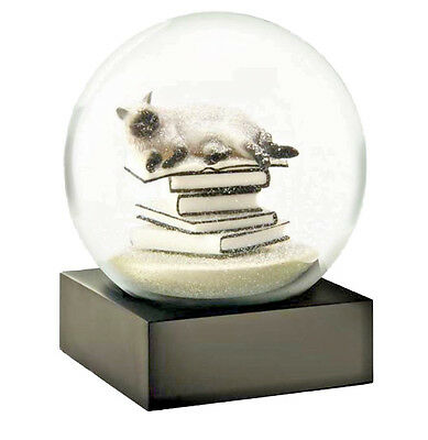 CoolSnowGlobes White Cat on Books Original Glass Beautiful Snow Globe