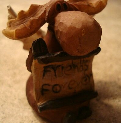 FRIENDS FOREVER Lodge Faux Wood Carved MOOSE ANGEL Cabin Figurine Home Decor