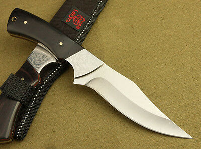 Survival Bowie Full Tang Hunting KNIFE Wood Handle Fixed Blade K18