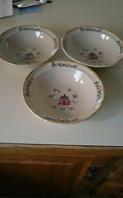 International Stoneware Japan HEARTLAND 3 Cereal Bowls 6 3/4""
