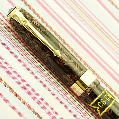 Vintage Conway Stewart 27 Red Hatched Executive Fountain Pen New