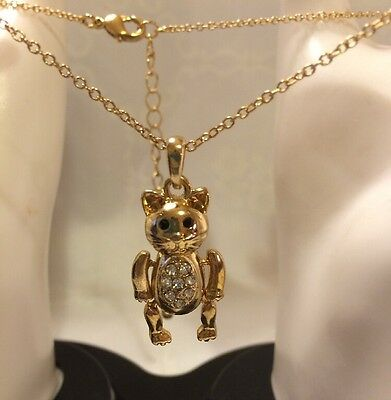 """Kitty Cat (Jointed) Pendant 17"""" Necklace with Rhinestones/ 3"""" Extender Goldtone"""