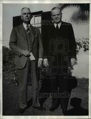 1936 Press Photo Former President Herbert Hoover with R W Shaw in Chandler Ariz.