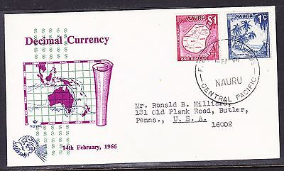 "Nauru 1966 - Decimal Currency - ""ROYAL"" $1. First Day Cover"