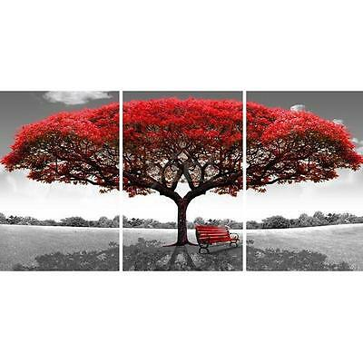 3pcs Red Tree & Bench Canvas Print Wall Art Painting Picture Home Decor Unframed