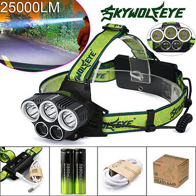 25000LM 5X XM-L T6 LED Headlamp Headlight Head Light Rechargeable USB+Battery