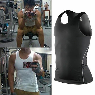 New Mens Body Muscle Compression Shirt Skin Under Base Layer Top Gym Vest Tights
