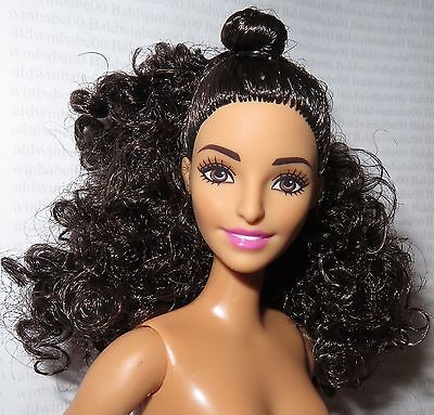 Nude Barbie ~ Curly Raven Brown Eyes Tall Denim Dazzle Fashionista Doll For Ooak