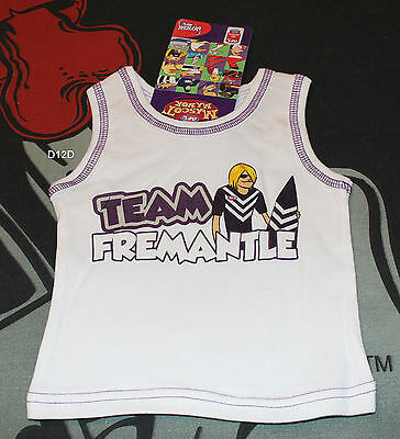 Fremantle Dockers AFL Infant Boys White Mascot Printed Cotton Singlet Size 0 New