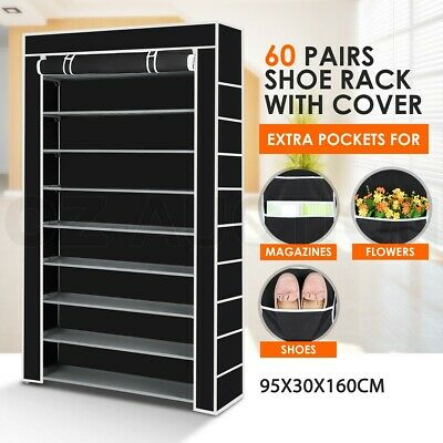 60 Pairs 10 tiers Portable Steel Storage Shoe Rack Cabinet Stackable Black