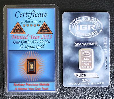 NEW 1 Troy Grain 999.9 Fine Solid Gold and a 2.5gm 999 Silver Bar w/ Certificate