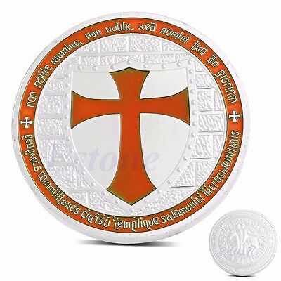 Silver Plated Masonic Knights Templar Europe Orange Cross Souvenir Coin Token