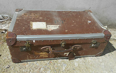 OLD Vintage Brown Shabby Chic Suitcase Travel Case Table Display TRUNK