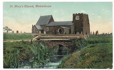 [1233] Lincolnshire Colored Postcard St Mary's Church Mablethorpe