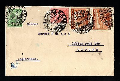 14229-CHILE-OLD COVER SANTIAGO to OXFORD (great britain)1946.WWII.Chili.brief.