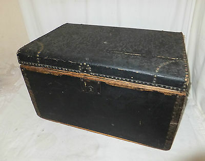 Vintage WOODEN Black Metal STUDDED Storage CHEST Box TRUNK