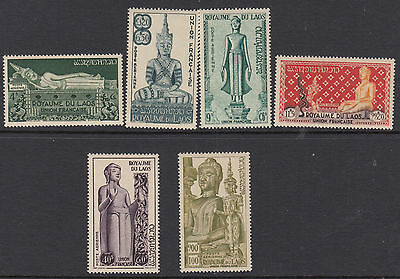 LAOS : 1953 Airmail-Statues of Buddha set SG34-9 MNH