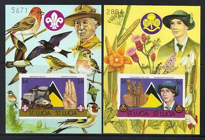 ST LUCIA 1986 75th ANNIV GIRL GUIDES U/M IMPERF PICTORIAL M/S