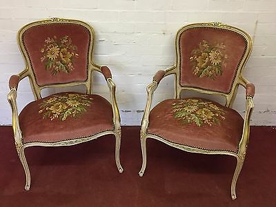 Chic Pair Of French Needlepoint Decorated Salon Chairs