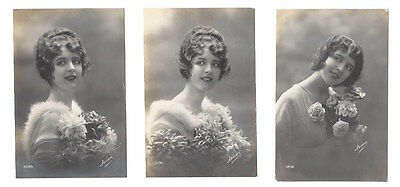 Vintage postcards set of 3, glamourous girl / lady with Flowers 'Frisa'