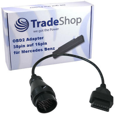 Trade-Shop Adapter Kabel 16Pin DLC OBD2 auf Mercedes Benz 38Pin OBD Stecker Rund