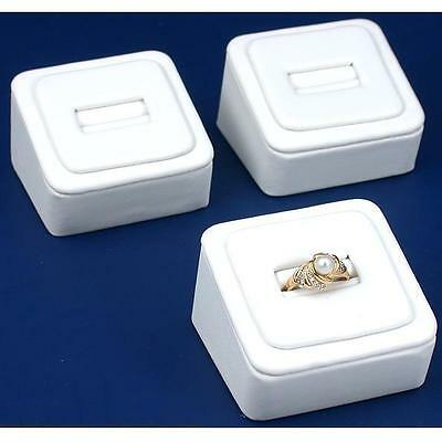 """3 White Faux Leather Ring Display Stands 1 5/8"""""""