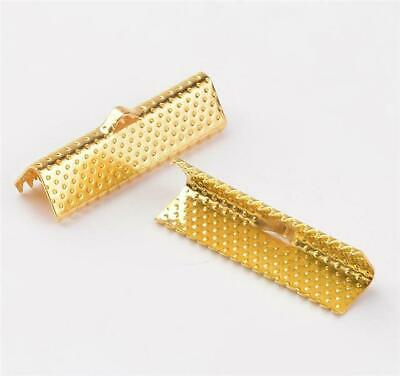 25 or 50  RIBBON END CRIMP CAPS BAIL TIPS 20mm GOLD PLATED