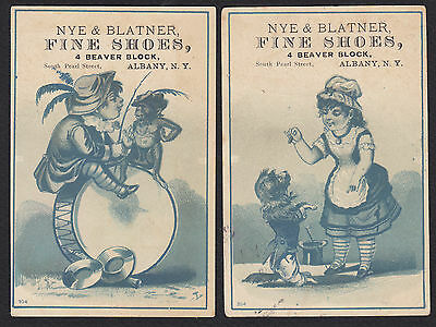 2-Performing Animals-Dog-Monkey-Circus-Albany-NY-Nye & Blatner Shoes-Trade Cards