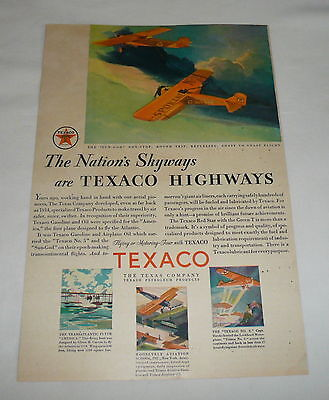 1930 Texaco ad page ~ NATION'S SKYWAYS ARE TEXACO HIGHWAYS airplanes