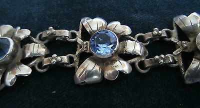 Hobe sterling silver bracelet with blue glass stones - 1940's