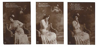 Vintage RP sepia set of 3 postcards Glamourous lady Day Dreams E.A Schwerdtieger