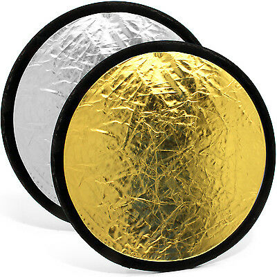 """30cm (12"""") 2-in-1 Collapsible Round Disc Studio Light Reflector - Gold & Silver"""