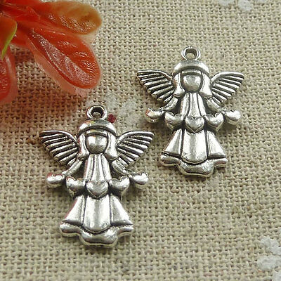 Free Ship 120 pieces tibetan silver angel charms 22x17mm #669