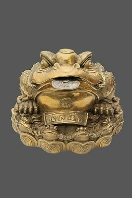 Bronze Money Frog/Toad from Chinese Figurine Statue Home Ornaments for Wealth
