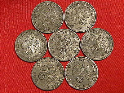 7German NAZI  COINS YEAR  1941  all mintmarks