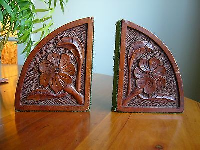 A Pair Of Old Hand Carved  Wooden Book Ends With Floral Designs.