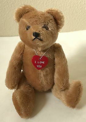 """VTG Small 7"""" HERMANN Teddy Bear Jointed Brown Mohair MIG Germany w/Hump, Arm Tag"""