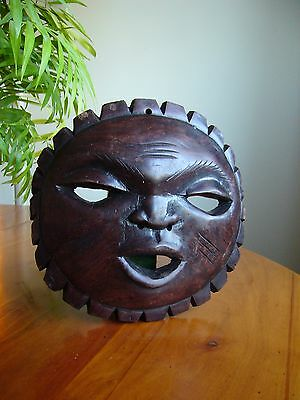 An Unusual Vintage Ethnographic African Ebony Wood Mask Carving.