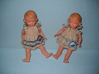 "2 Vintage SCHILDKROTTE Turtle Mark/Tags Celluloid Dolls  6.5"" Tall"
