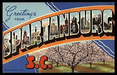 Greetings From Spartanburg Sc Large Letter Unused Postcard By Ct Art Colortone