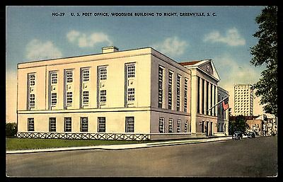 Post Office & Woodside Bldg Greenville Sc Colored Postcard By Asheville Pc C