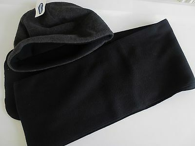 NEW Boys YOUTH One Size OLD NAVY Fleece Winter Hat & Scarf Set Black & Gray NWT!