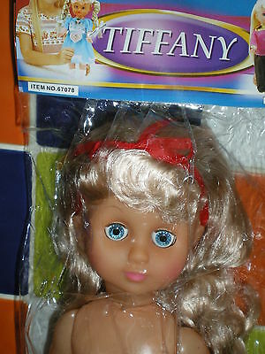 "Gorgeous vintage VINYL GIRL doll ""Tiffany"" 13"" tall. To dress MIP"