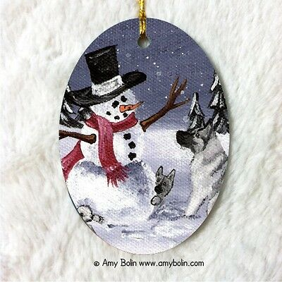 NORWEGIAN ELKHOUND CERAMIC Oval Christmas ORNAMENT by Amy Bolin HIDE AND SEEK