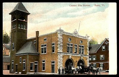 Central Fire Station Barre Vermont Colored Picture Postcard