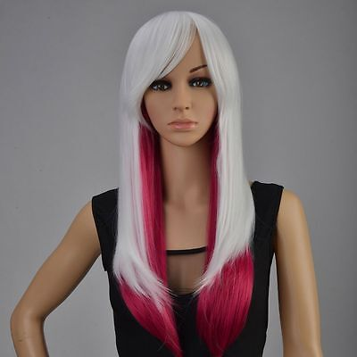 Fashion Euro Style White Ombre Wig Long Wavy Hair Anime Costume Party Lolita Wig