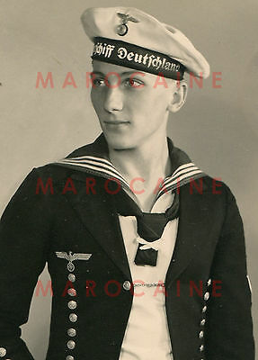 VINTAGE PHOTO German Navy Sailor Handsome Portrait Young Man Male 1938 Gay Int