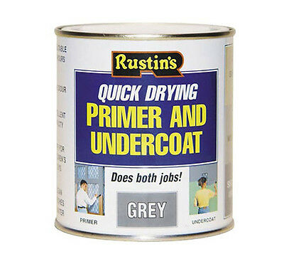 Rustins Quick Drying Primer And Undercoat Grey 1Litre Dented Can