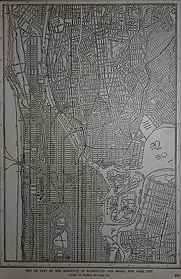 Antique 1925 Upper Manhattan & Bronx Atlas Map NY New York City World War WWI