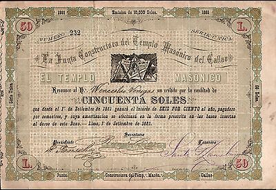 Peru 1881 Document Bonus Masonic Temple of Callao